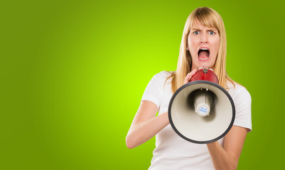 Woman Screaming Through Megaphone