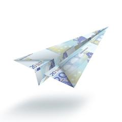 Un avion plié avec des billets de 20 euros