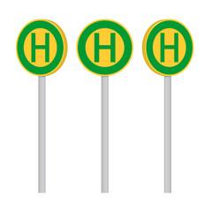 Drei Haltestellenschilder Set, Haltestelle, Symbole