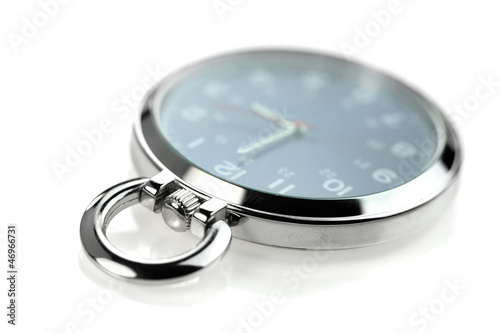 Shiny pocket watch on white background