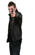 man with leather jacket pointing with gun