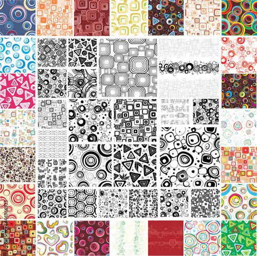 Mix Collection multicolored and monochrome seamless textures - 46966933