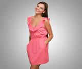 Beautiful Woman In Pink Dress