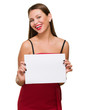 Happy Young Woman Holding Blank Placard