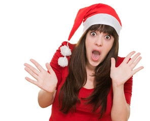 surprised woman wearing a christmas hat