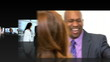Montage 3D business people communicating by computer