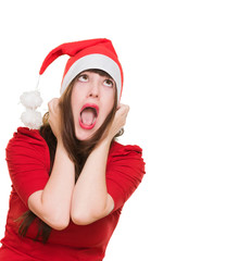stressed woman wearing a christmas hat