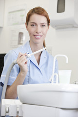 A portrait of a female dental nurse/hygienist