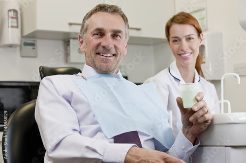 A male patient at the dentist