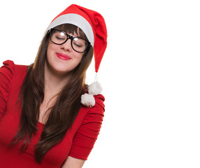christmas woman wearing glasses and making a wish