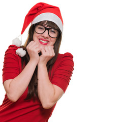 excited christmas woman wearing glasses