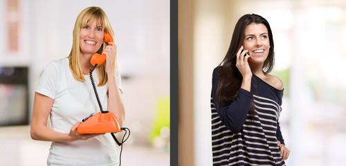 Portrait Of Happy Women Talking On Phone