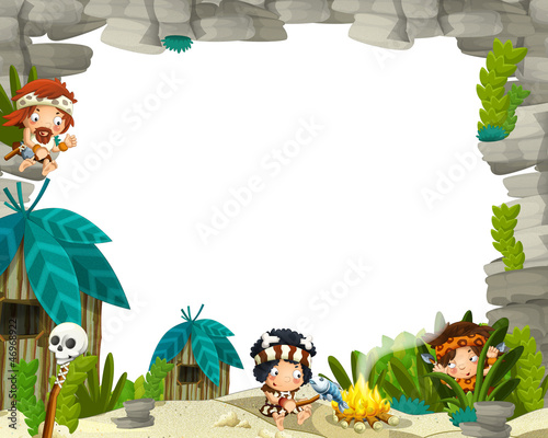 The stone age border - illustration for the children