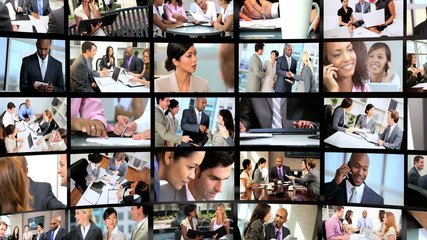 Montage 3D of Multi Ethnic business people achieving success