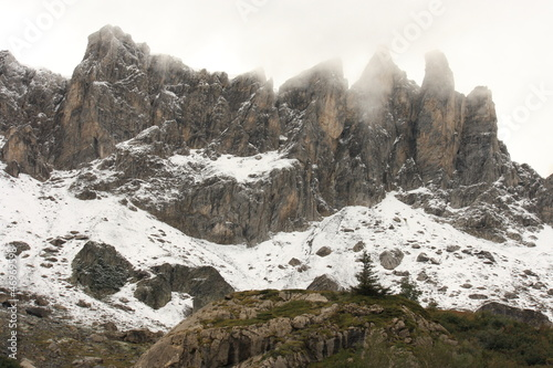 early snow covering alpine peaks