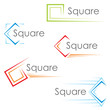 Set of colorful pictograms with square