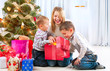 Happy Children with Christmas gifts