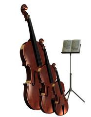 Kontrabass Cello und Violine mit Notenständer
