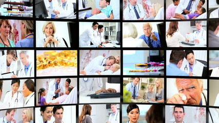 Montage 3D images of professionals working with patients