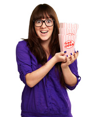 Casual Woman Holding Popcorn Container