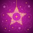 Christmas star with snowflakes purple
