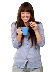 Beautiful Woman With Coffee And Cookies