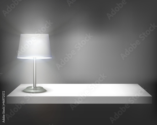 Lamp on shelf. Vector illustration.