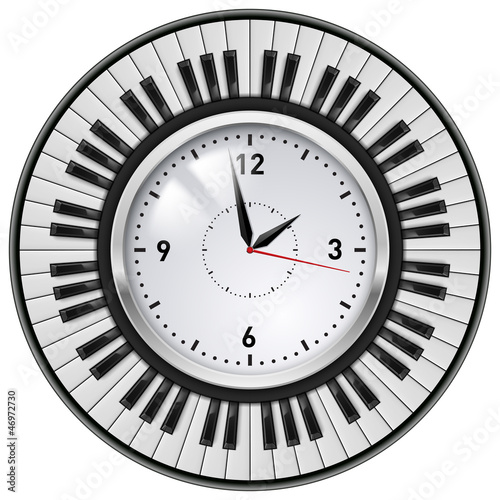 Realistic Office Clock and Piano keys