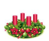 Adventskranz mit 4 Kerzen freigestellt