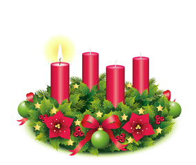 Erster Advent / Adventskranz freigestellt