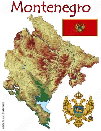 Montenegro Europe national emblem map symbol motto