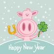 Glücksschwein Neujahrskarte