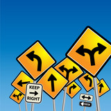 Road signs chaos, vector illustration