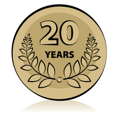 Label 20 anniversary, vector illustration