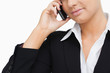 Close-up of a businesswoman using her mobile