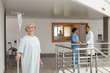Laughing woman in a hospital