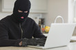 Burglar using laptop
