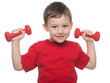 Morning exercises with dumbbells