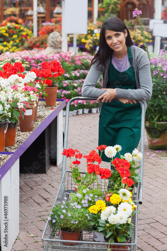Garden center employee pushing trolley