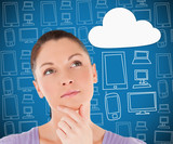 Woman thinking about cloud computing