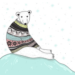 Christmas cute polar bear with fair isle style sweater
