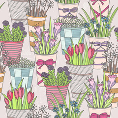 Cute seamless floral pattern. Pattern with flowers in buckets.