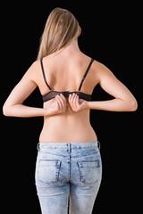 Woman closing her bra