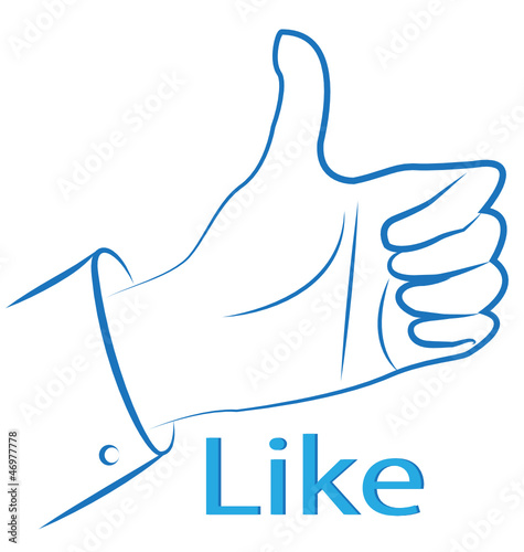 Thumb up silhouette- Facebook like vector