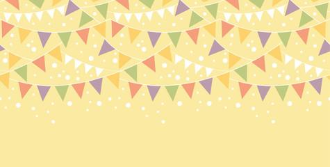 Vector Birthday Decorations Bunting Horizontal Seamless Pattern