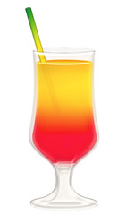 Cocktailglas mit Trinkhalm