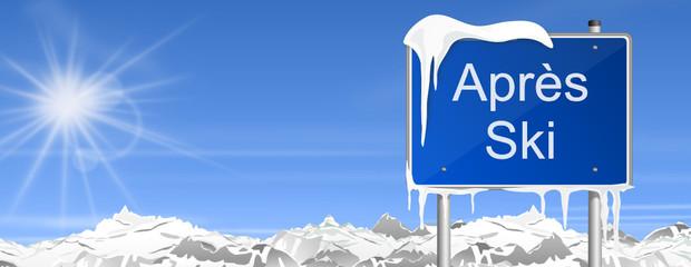 Schild Berge Après Ski