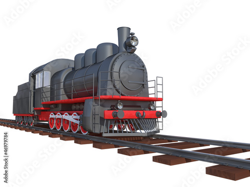 locomotive on a white background