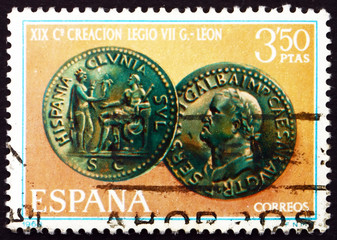 Postage stamp Spain 1968 Emperor Galba Coin