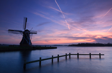 Windmill autumn sunset